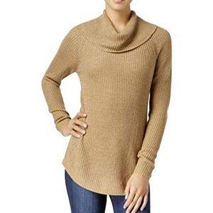 Bcx camel lurex metallic cowl neck sweater C